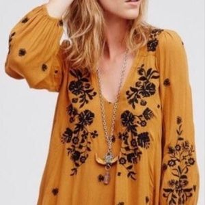 Free people flower embroidered dress